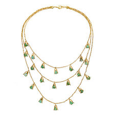 Collier Doré Multirang Bourgeon Perle Vert 3 en 1 Fin Original  MYL2