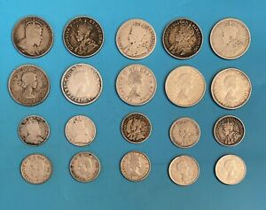 Foreign Silver Coins - Lot of 20 Canadian Quarters & Dimes - 1903-1964 GVG-VF+
