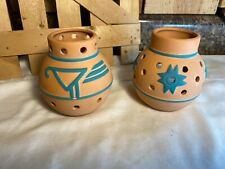 Lot of 2 Vintage Partylite Terracotta Southwest Design Candle Holders