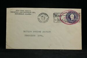 RPO: Vancouver & Skagway TPO 1934 Way Mail Cover, Canada & Alaska Railroad