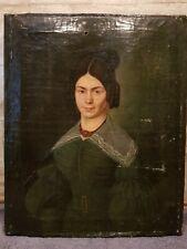 antikes Ölbild Ölgemälde Biedermeier Klassizismus  Portrait Dame datiert 1838