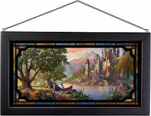 Thomas Kinkade Studios Beauty and the Beast II 13 x 23 Framed Stained Glass