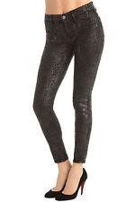 New J Brand Jeans Skinny Womens Leggings Black Matte Boa Snake 25 Coated USA