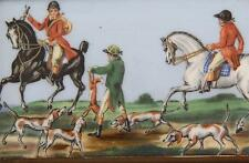 Antique 19th c. English Porcelain Plaque Tile Worcester Horse Hunt Derby