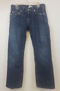 True Religion Bobby World Tour Blue Jeans Straight Leg Pants Size 32x28 Men's