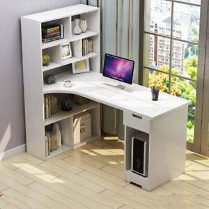 L shaped Computer Desk Corner PC Table Workstation Home Office Desktop White Kid