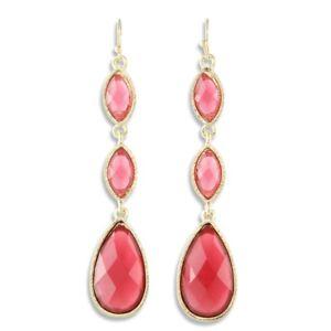 NEW Red Teardrop & Marquise Resin Triple Tier Drip Drop Earrings in Goldtone