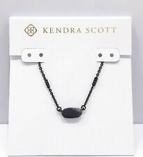Authentic Kendra Scott Fern Pendant Gunmetal Chain Necklace 029