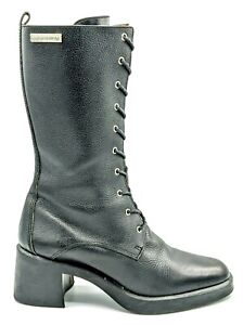 HARLEY DAVIDSON Womens Black Leather Tall Lace-up Heels Moto Boots Size 7M 81310