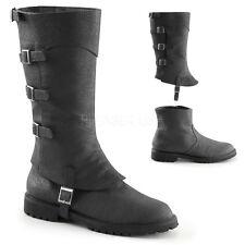Black Steampunk Renaissance Medieval Knight Dieselpunk Costume Boots Mens 8 9 10