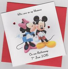 Personalised Handmade Mickey & Minnie Mouse Engagement/Anniversary Card