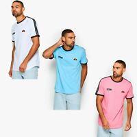 Ellesse Fede Cotton Crew Neck Taped Shoulder Retro T-Shirt Blue, Pink & White