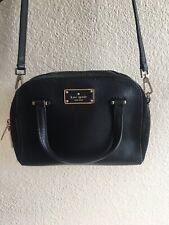 Kate Spade Black Grove Street Carli Leather Crossbody Bag Purse Dome Satchel