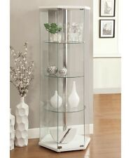 Glass Curio Cabinet Floor Display Stand Ornament Case Furniture Round Trophy New