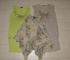 Venus Woman Dress Lime Green Beige Gold Sparkle Dots Medium M NWOT Lot