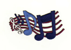 Aa07 Clef Sew-On Iron-On Music Notes Lines Blue 2 7/8x2in
