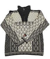 Skjaeveland Wool Pullover Sweater Mens Size L Ivory and Black Mock Neck 1/4 Zip