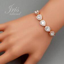 ROSE GOLD Plated Clear Cubic Zirconia CZ Wedding Tennis Bracelet 130 Bridesmaids