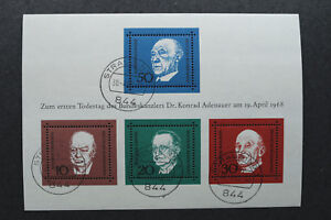 Briefmarken BRD Block 4, 1. Todestag Konrad Adenauer 1968 Michl Nr 554-557 +++++