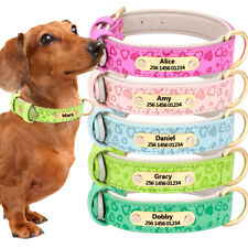 Custom Personalized PU Leather Dog Collar Laser Engrave ID Name Adjustable S-XXL