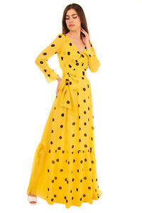 RRP €520 BOUTIQUE MOSCHINO Silk Flounce Gown Size 38 / XS Polka Dot Pleated