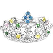 Natural Princess Crown Multi Gemstone & 29 Diamond 9K 9ct Solid White Gold Ring