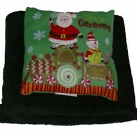Holiday Time Christmas Santa Accent Pillow & Super Soft Black Throw Blanket Set