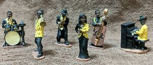 """Mini Black Jazz Band 6 Figurines 1997 Young's Inc.Dunee Original NEW About 2.5"""""""