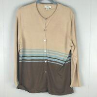 Brooks Brothers 346 Cardigan Sweater XL Tan 100% Silk Knit Lightweight Striped