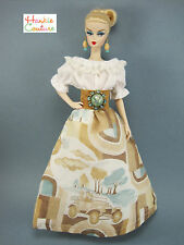 HANDMADE REPRO FITS BARBIE SILKSTONE CLOTHES VINTAGE HANKIE COUTURE DOLL DRESS