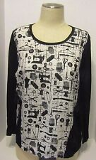 Style & Co Black and White Sewing Theme Sheer Back Blouse Pullover Women's M
