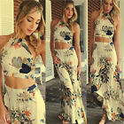 Women Chiffon Backless Sleeveless Floral Printed Waisted Crop Top And Skirt Set