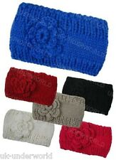 Ladies Girls Knitted Rose Headband Hair Band Ski Hat Earmuffs Winter Warm