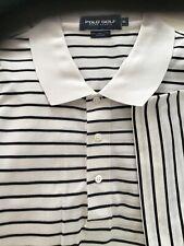 Polo Golf Shirt Men's XL Off White With Narrow Black Stripe