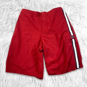 Nike Mens Swim Trunks Shorts Size XL Red Strip Board Shorts
