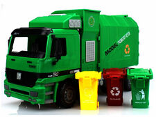 1 22 Side Loading Garbage Truck Toy With 3pcs Trashes Inertia Automatic Lifting