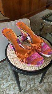 Christian Dior Floral Print Shoes. Wedge Heel with Platform.  Size 39