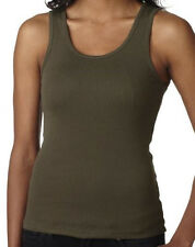 Ladies 100% Cotton Baby Rib Yoga Tank Top