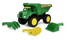 "Dump Truck With Sand Toys John Deere 15"" Big Scoop 4 Piece Kids TOMY New"