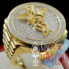 5522f590f771 Grande Grueso Hombre Acabado de Oro Amarillo Diamante Auténtico Rezar Mano  Angle