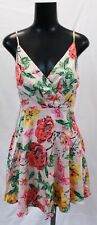Express Women's Sleeveless Floral Satin Fit & Flare Dress ML3 Pink Size XS NWT