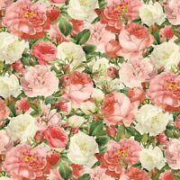 Vintage Rose Bouquet~Floral Antique Cotton Fabric by David Textiles