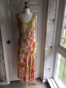Bnwt Adini Lagoon  Print Bias Cut MIDI Dress Size 20 - L2