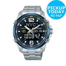 Pulsar Men's Silver Stainless Steel Black Dial Backlight Dual Time Watch