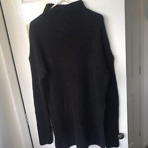 Black knitted turtleneck longline Pretty Little Thing jumper Size 6