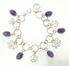 Bracciale donna argento 925 con ciondoli e ametiste fatto a mano (B10)