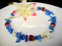 Blue Coral Red Sea Glass Silver Beach Bracelet Patriotic