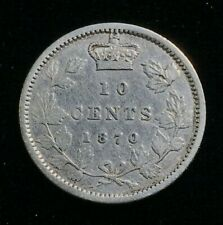 1870 Canada  - 10 Cents Silver Coin - Fine - Narrow 0 - CA20