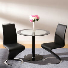 Black Glass Dining Coffee Tea Tables Heavy Pipe and Glass Round Base Dining Room