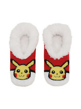 Pokemon GO Pikachu Poke ball Cozy Fluffy Faux fur Slippers Socks Anti Slip Sole